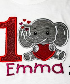 Kinder T-Shirt Elephant Herz personalisiert, Shirt bestickt, Geburtstagsshirt KIN-Kinder 2