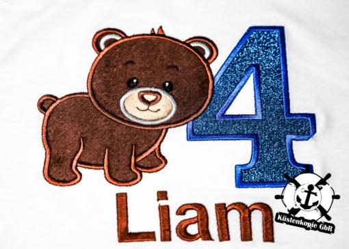 Kinder T-Shirt Bär personalisiert, Shirt bestickt, Geburtstagsshirt KIN-Kinder 2