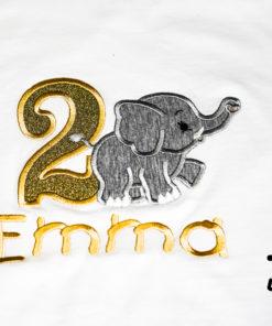 Kinder T-Shirt gehender Elephant personalisiert, Shirt bestickt, Geburtstagsshirt KIN-Kinder 2