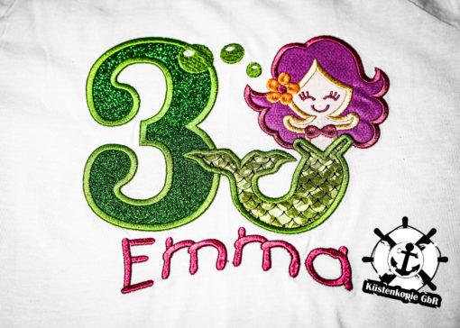 Kinder T-Shirt Meerjungfrau personalisiert, Shirt bestickt, Geburtstagsshirt KIN-Kinder 2