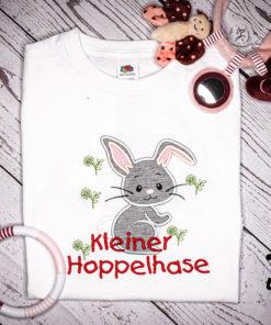 Kinder T-Shirt Häschen personalisiert, Shirt bestickt, Geburtstagsshirt KIN-Kinder