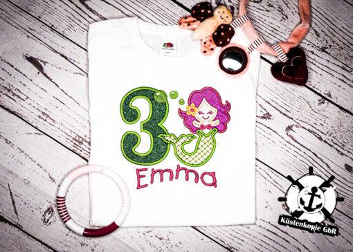 Kinder T-Shirt Meerjungfrau personalisiert, Shirt bestickt, Geburtstagsshirt KIN-Kinder