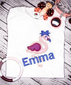 Kinder T-Shirt Flamingo personalisiert, Shirt bestickt, Geburtstagsshirt KIN-Kinder