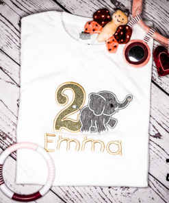 Kinder T-Shirt gehender Elephant personalisiert, Shirt bestickt, Geburtstagsshirt KIN-Kinder