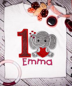 Kinder T-Shirt Elephant Herz personalisiert, Shirt bestickt, Geburtstagsshirt KIN-Kinder