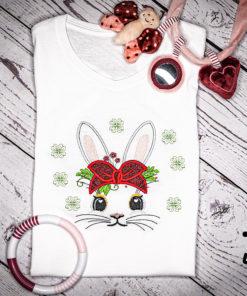 Kinder T-Shirt Hasengesicht personalisiert, Shirt bestickt, Geburtstagsshirt KIN-Kinder