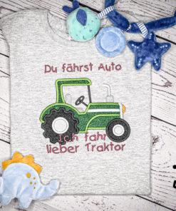Kinder T-Shirt Traktor personalisiert, Shirt bestickt, Geburtstagsshirt KIN-Kinder