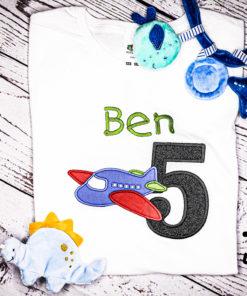 Kinder T-Shirt Flugzeug personalisiert, Shirt bestickt, Geburtstagsshirt KIN-Kinder