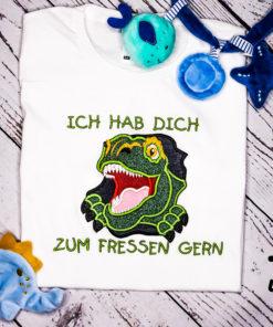 Kinder T-Shirt Dinogesicht personalisiert, Shirt bestickt, Geburtstagsshirt KIN-Kinder