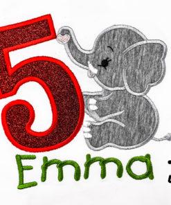 Kinder T-Shirt sitzender Elephant personalisiert, Shirt bestickt, Geburtstagsshirt KIN-Kinder 2
