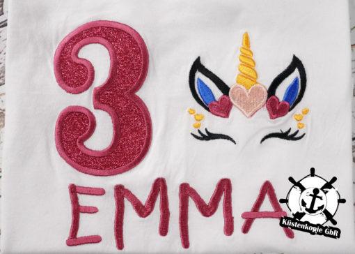 Kinder T-Shirt Einhorn personalisiert, Shirt bestickt, Geburtstagsshirt KIN-Kinder 2