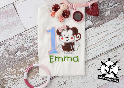 Kinder T-Shirt Affenmädchen personalisiert, Shirt bestickt, Geburtstagsshirt KIN-Kinder