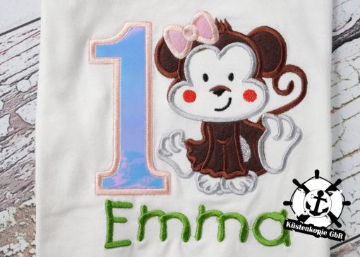 Kinder T-Shirt Affenmädchen personalisiert, Shirt bestickt, Geburtstagsshirt KIN-Kinder 2