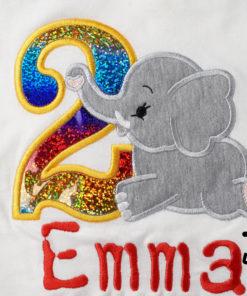 Kinder T-Shirt liegender Elephant personalisiert, Shirt bestickt, Geburtstagsshirt KIN-Kinder 2