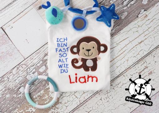Kinder T-Shirt Affe personalisiert, Shirt bestickt, Geburtstagsshirt KIN-Kinder