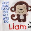 Kinder T-Shirt Affe Shirt mit Namen; Text & Motiv; personalisiert; Stickerei | bestickt; Babybody