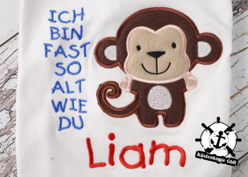 Kinder T-Shirt Affe personalisiert, Shirt bestickt, Geburtstagsshirt KIN-Kinder 2