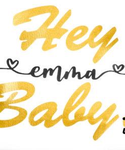 Kinder T-Shirt personalisiert mit Namen, Hey Baby, Babybody KIN-Kinder 2