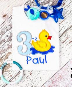 Kinder T-Shirt Ente personalisiert, Shirt bestickt, Geburtstagsshirt KIN-Kinder