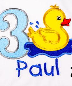 Kinder T-Shirt Ente personalisiert, Shirt bestickt, Geburtstagsshirt KIN-Kinder 2