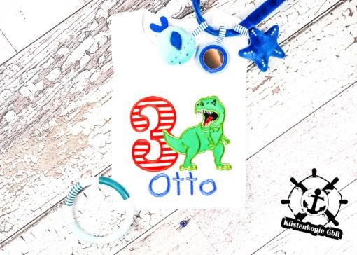 Kinder T-Shirt Dino personalisiert, Shirt bestickt, Geburtstagsshirt KIN-Kinder
