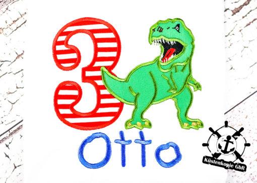 Kinder T-Shirt Dino personalisiert, Shirt bestickt, Geburtstagsshirt KIN-Kinder 2
