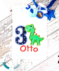 Kinder T-Shirt Sweet Dino personalisiert, Shirt bestickt, Geburtstagsshirt KIN-Kinder