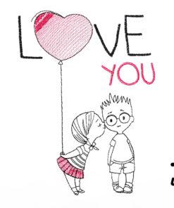 Kinder T-Shirt Paar Luftballon personalisiert, Shirt bestickt, Geburtstagsshirt KIN-Kinder 2