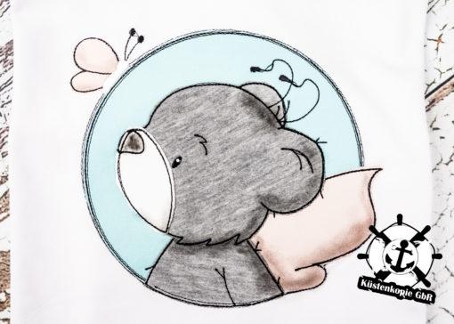 Kinder T-Shirt Button Teddy personalisiert, Shirt bestickt, Geburtstagsshirt KIN-Kinder 2