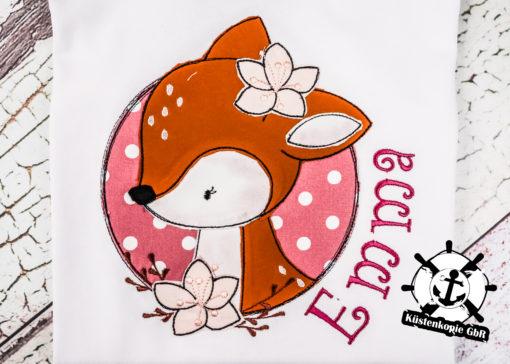 Kinder T-Shirt Button Reh personalisiert, Shirt bestickt, Geburtstagsshirt KIN-Kinder 2