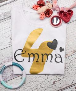 Kinder T-Shirt personalisiert mit Namen und Nummer Babybody KIN-Kinder