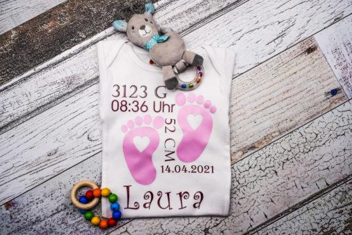 Babybody mit Geburtsdaten, Geschenk zur Geburt, Geburtstagsgeschenk KIN-Kinder