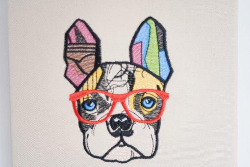 Bestickte Leinwand Bulldogge | Bildstickerei | Deko fürs Kinderzimmer | Dekoration | Geschenk BIL-Bilder 3