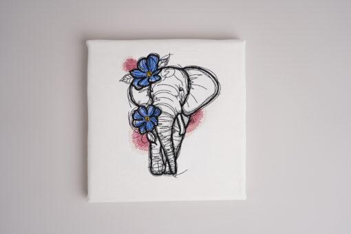 Bestickte Leinwand Elephant | Bildstickerei | Deko fürs Kinderzimmer | Dekoration | Geschenk BIL-Bilder 2