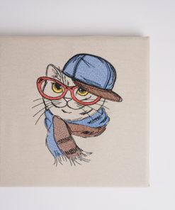 Bestickte Leinwand Katze | Bildstickerei | Deko fürs Kinderzimmer | Dekoration | Geschenk BIL-Bilder 2