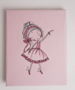 Bestickte Leinwand Ballerina | Bildstickerei | Deko fürs Kinderzimmer | Dekoration | Geschenk BIL-Bilder 2