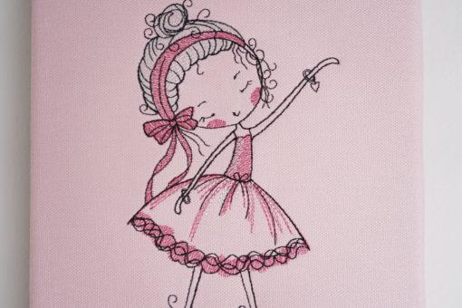 Bestickte Leinwand Ballerina   Bildstickerei   Deko fürs Kinderzimmer   Dekoration   Geschenk BIL-Bilder 3