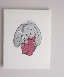 Bestickte Leinwand Hase | Bildstickerei | Deko fürs Kinderzimmer | Dekoration | Geschenk BIL-Bilder