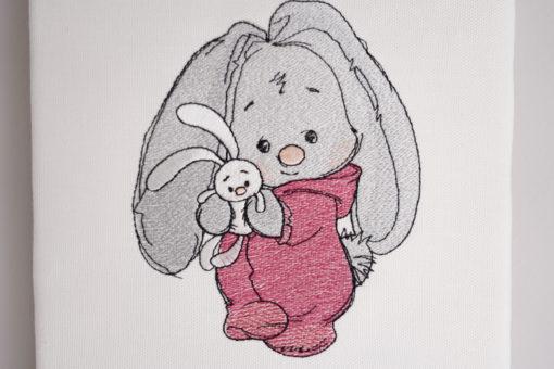 Bestickte Leinwand Hase | Bildstickerei | Deko fürs Kinderzimmer | Dekoration | Geschenk BIL-Bilder 2