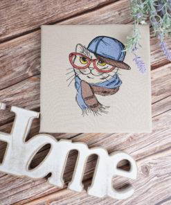Bestickte Leinwand Katze | Bildstickerei | Deko fürs Kinderzimmer | Dekoration | Geschenk BIL-Bilder