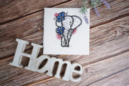 Bestickte Leinwand Elephant | Bildstickerei | Deko fürs Kinderzimmer | Dekoration | Geschenk BIL-Bilder