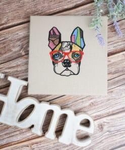 Bestickte Leinwand Bulldogge | Bildstickerei | Deko fürs Kinderzimmer | Dekoration | Geschenk BIL-Bilder