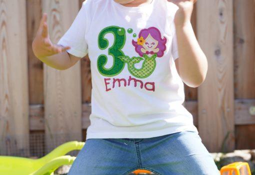 Kinder T-Shirt Meerjungfrau personalisiert, Shirt bestickt, Geburtstagsshirt KIN-Kinder 10