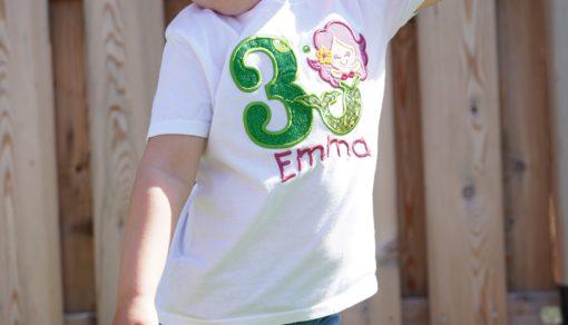 Kinder T-Shirt Meerjungfrau personalisiert, Shirt bestickt, Geburtstagsshirt KIN-Kinder 9