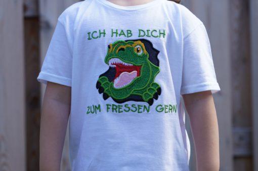 Kinder T-Shirt Dinogesicht personalisiert, Shirt bestickt, Geburtstagsshirt KIN-Kinder 10