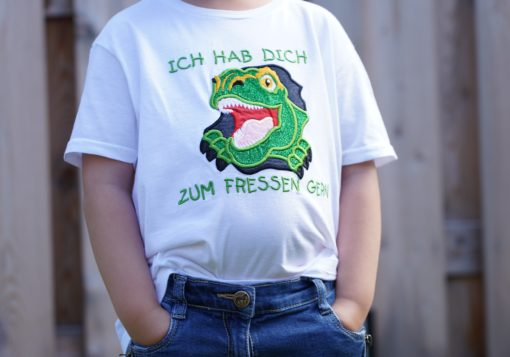 Kinder T-Shirt Dinogesicht personalisiert, Shirt bestickt, Geburtstagsshirt KIN-Kinder 9