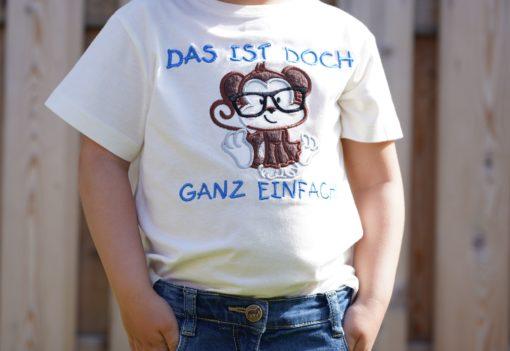 Kinder T-Shirt Affen-Nerd personalisiert, Shirt bestickt, Geburtstagsshirt KIN-Kinder 9