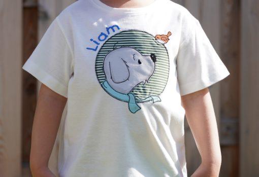 Kinder T-Shirt Button Hund personalisiert, Shirt bestickt, Geburtstagsshirt KIN-Kinder 10