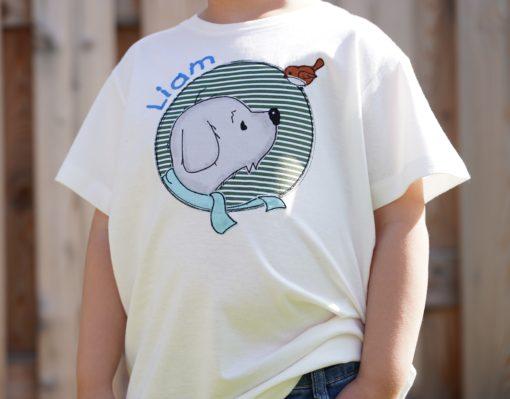 Kinder T-Shirt Button Hund personalisiert, Shirt bestickt, Geburtstagsshirt KIN-Kinder 9