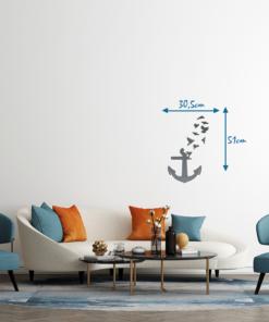Wanddekoration, Wandbild Anker in verschiedenen Farben, Lasergeschnittenes Bild, Dekoration BIL-Bilder